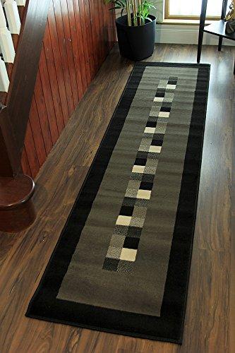 Tappeto moderno e morbido, motivo bordato, colori: nero e grigio - 5 ...