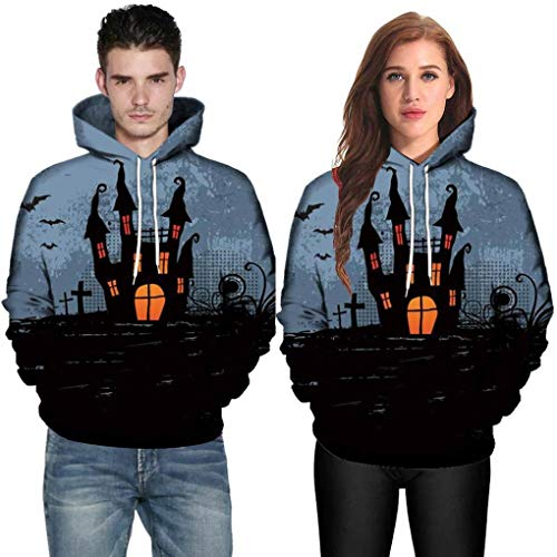 DEATU Halloween Shirts Clearance! Men Women Print Long Sleeve Halloween Couples Hoodies Top Blouse Shirts(Black ,XL)