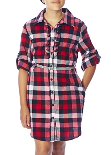Girls Plaid Dress (Chillipop Big Girls Plaid Shirt Dress, Belted, Ruffle Trim, Adjustable Sleeves)