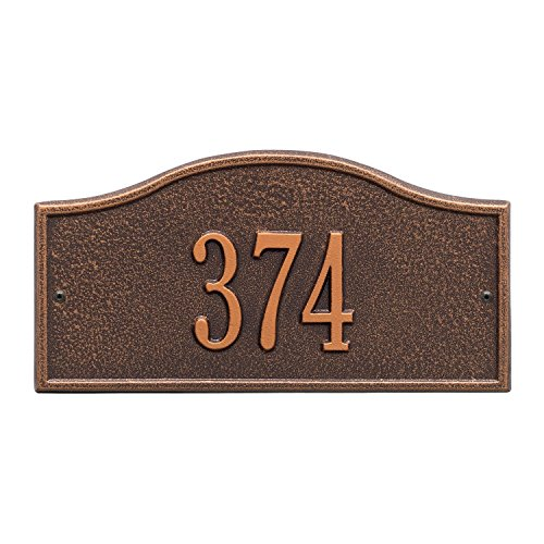 (Whitehall Personalized Cast Metal Address Plaque - Small Rolling Hills Custom House Number Sign - 12