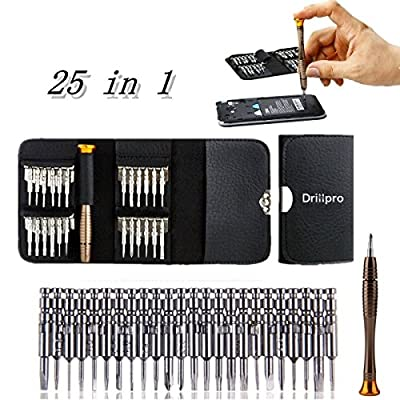 Drillpro 25 in 1 Precision Screwdrivers Set,Repair opening Tool Kit - Torx Phillips Screwdriver with Black Bag for Mobile Phone, PC Laptop, Macbook, Tablet , iPad, Computers