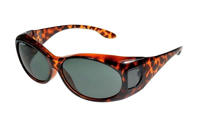 fcfa3998aa65 Fit Over-Glasses Piccola Slim Polarised Sunglasses Tortoiseshell Smoke Small   Amazon.co.uk  Clothing