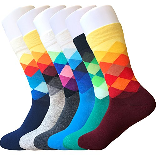 IMAXSELL 6 Packs Men's Dress Socks Funny Colorful Argyle Patterned High Fun Sock,Multicolor,Regular from IMAXSELL