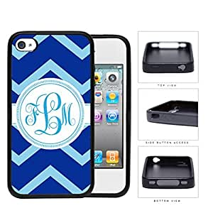 Blue Light Blue Chevron Monogram (Custom Initial) Rubber Silicone TPU Cell Phone Case Apple iPhone 4 4s