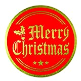 "Merry Christmas Stickers Seals Labels (Pack of 120) 2"" Large Round Gold Foil Stamping on Red for Cards Gift Envelopes Boxes"