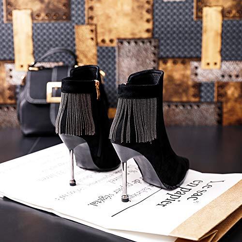 Shukun Stiefeletten Martin Stiefel mit hohen Absätzen Damen Stiletto Spitze Stiefel Frauen Herbst und Winter Wilde Schwarze Quaste dünne Stiefel