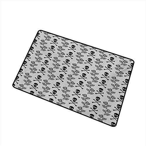 BeckyWCarr Gothic Universal Door mat Monochrome Lace Style Pattern with Romantic Vintage Roses and Skulls Crossbones Door mat Floor Decoration W23.6 x L35.4 Inch,Black -