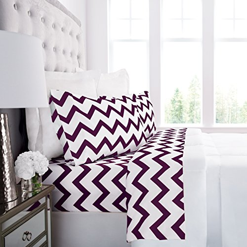 Prestige Linens 1800 Hotel Collection Chevron Pattern Bed Sheet Set - Deep Pockets, Wrinkle & Fade Resistant, Hypoallergenic Printed Sheet & Pillow Case Set - Full - White/Eggplant