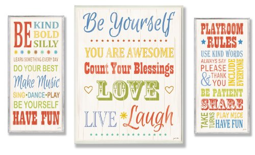 The Kids Room by Stupell Be Yourself; Be Kind; Playroom Rules 3-Pcs. Multi-Size Wall Plaque Set, n/a x n/a x n/a, Proudly Made in USA by The Kids Room by Stupell