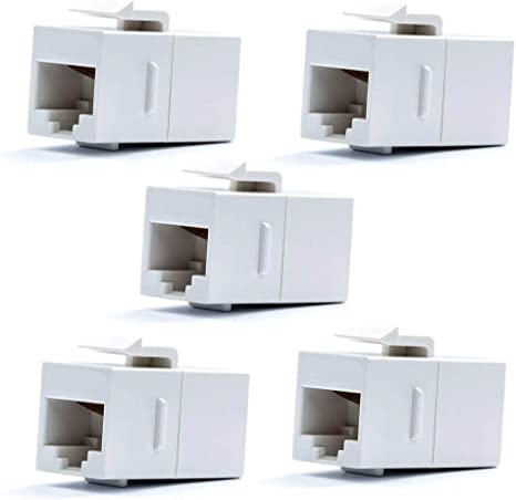 5x White CAT6 Female to Female RJ45 Ethernet Keystone Jack Coupler Adapter