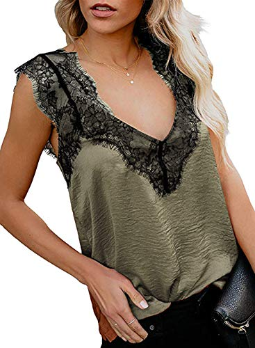 (DRIBET Women's Ruffle V Neck Sleeveless Wrap Front Pleated Lace Strappy Cami Tank Tops Loose Fit Casual Shirts Blouses (Amy Green with Lace, L) )