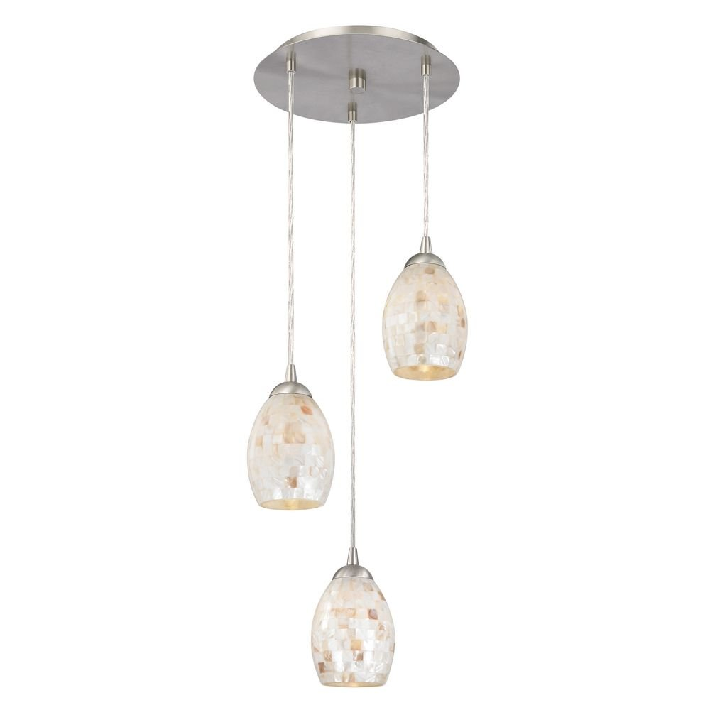Multi-Light Pendant Light with Rounded Mosaic Glass Shades and 3-Lights by Design Classics