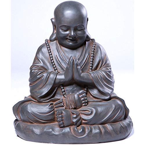Alfresco Home Seated Buddha Statuary, Black Rust
