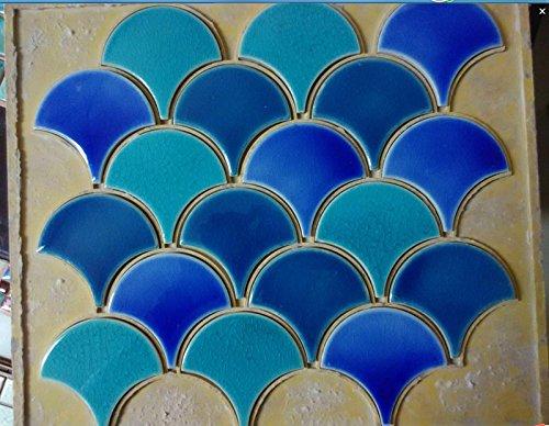11PCS blue green fish scale ceramic mosaic tile kitchen backsplash bathroom swimming pool wall fan porcelain background wallpaper ()