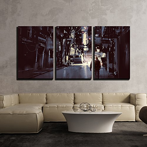 wall26 - 3 Piece Canvas Wall Art - Illustration - Man Walking Alone in Dark City,Illustration Painting - Modern Home Decor Stretched and Framed Ready to Hang - 24'x36'x3 Panels
