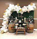 Balloon Garland Arch Kit 16Ft Long White and Gold Latex Balloons Pack for Baby Shower Weeding Birthday Bachelorette Party Backdrop Background Decorations: more info