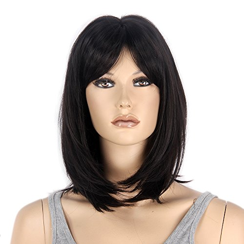 STfantasy Bob Wig Black Shoulder Length Straight Cosplay Costume Party Synthetic Hair 16