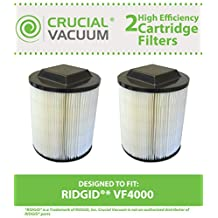 2 Crucial Vacuum Washable Wet/Dry Filters Fit RIDGID® VF4000, Models 5-20 gallon Ridgid Wet/Dry Vacs, Compare to Part # 72947, Designed & Engineered by Crucial Vacuum