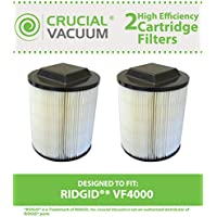 2 Replacements for Ridgid VF4000 Filter Cartridge Fits 5 - 20 Gallon Wet & Dry Vacuums, Compatible With Part # 72947, Washable & Reusable, by Think Crucial