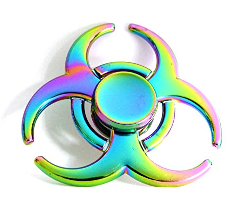 Fidget Spinner Edc Sensory Hand Toy Ideal For Stress Relief  Add  Adhd  Autism  Focus   Unique Aluminium Alloy Rainbow Color Tri Design And Durable Metal Bearings For High Top Speed  Prime Delivery