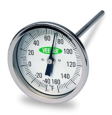 """Vee Gee Scientific. 82160-6 Dial Soil Thermometer, 6"""" Stainless Steel Stem, 3"""" Dial Display, 40 to 160-Degree F"""