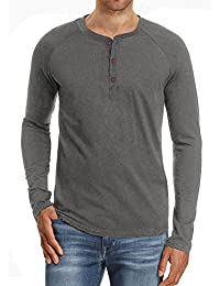 Men's Casual Slim Fit Short/Long Sleeve Henley T-Shirts Cotton Shirts