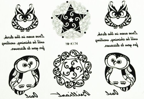 Spestyle new design fake tattoo stickers for men and women Owl Totem Star Totem with English letter by SPESTYLE