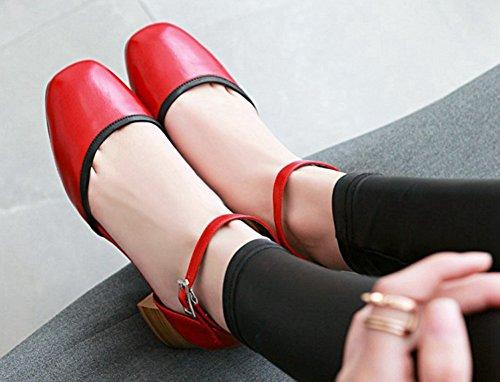 Aisun Avec Escarpins Découpé Rouge Femme Confort Bout Carré Boucle PwzqP4r