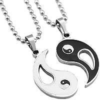 F Fityle Símbolo Yin Yang Chinês Preto Branco Taijitu Colar De Pingente De Casamento