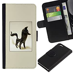 Ihec-Tech / Negro Flip PU Cuero Cover Case para Apple Iphone 6 PLUS 5.5 - Fox Estatuilla Figurita 3D Arte Negro Animal