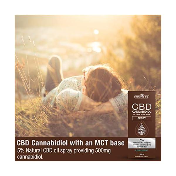 Natures Aid CBD Oil 5% Spray, 500 mg Cannabidiol, Natural Peppermint Flavour, 10 ml