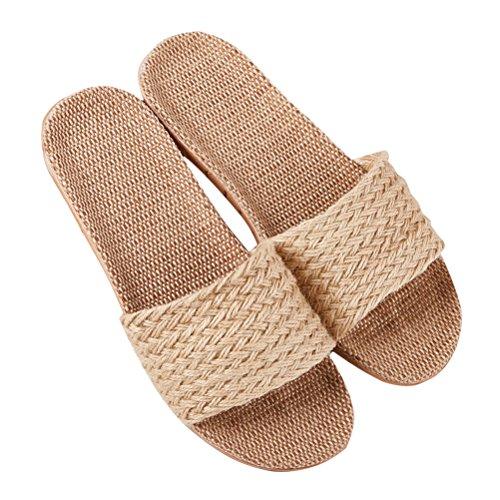Flax Home Slipper Unisex Lightweight Beige toe Shoes Goal Open Slippers House Beach Slipper Bedroom Wind Breathable qOtUEwx5w