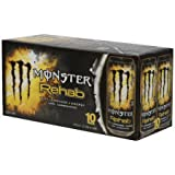 Monster Rehab Tea + Lemonade + Energy Drinks, 15.5 fl oz, 10 Count (Pack of 5)