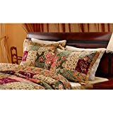 2 Piece French Country Pillow Shams King Set, Antique Pattern Patchwork Gold Sage Burgundy Floral Vintage Rich Tones Classic Royal Victorian Old Fashioned, Cotton