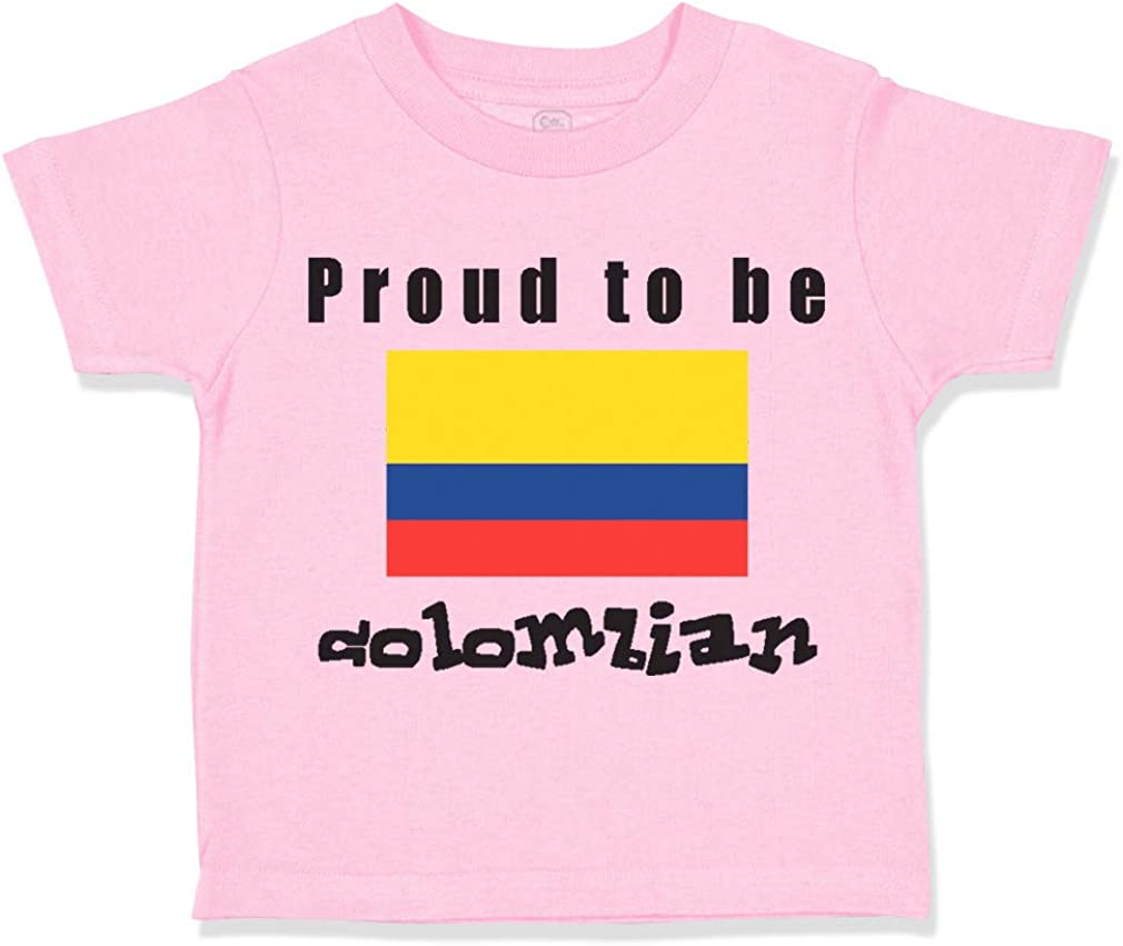 Custom Toddler T-Shirt Proud to Be Colombian Flag Cotton Boy /& Girl Clothes