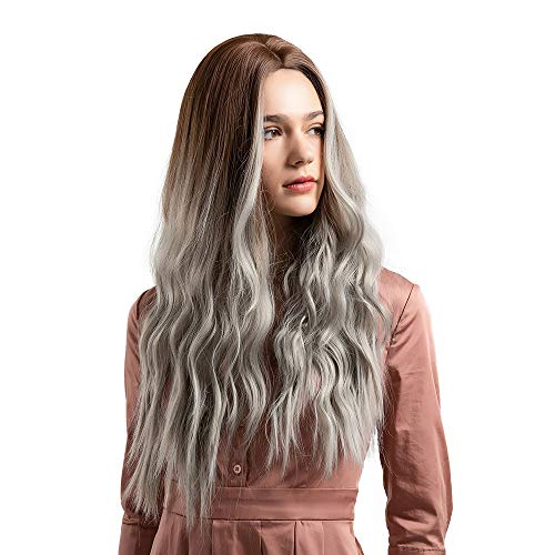 Anboo Women Long Curly Hair Party Custome Daily Synthetic Water Wave Natural High Temperature Resistance Fiber Mix Hair Wigs Full Hair
