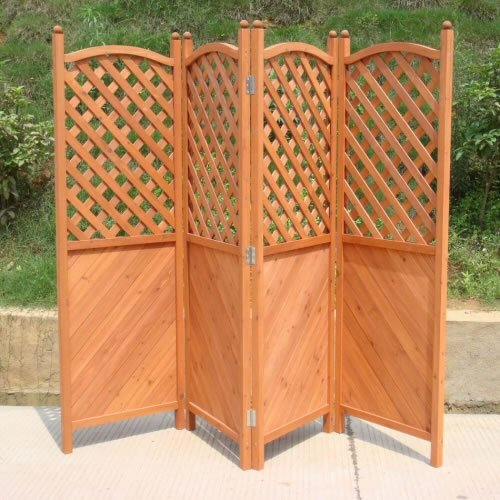 Trueshopping Patio Garden Screen Four Panel Attractive Wooden Half Latticed  Privacy Screen Cover Height 1.8 M X 2.4 M Length: Amazon.co.uk: Garden U0026 ...