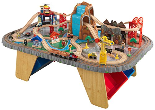 KidKraft Waterfall Junction Train Set and Table Toy (Kidkraft Wooden Waterfall Mountain Train Table And Set)