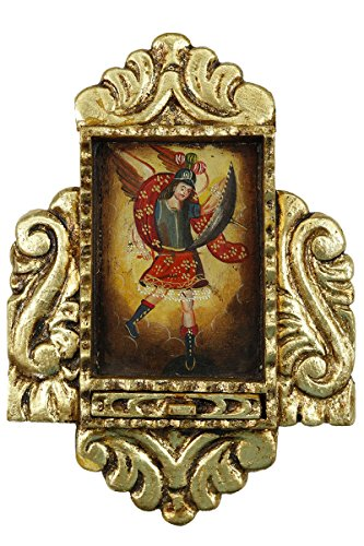 Archangel Michael - Colonial Cuzco Peru Handmade Gilded Retablo Folk Art Framed Oil Painting on Canvas Hand Carved Wood Altarpiece