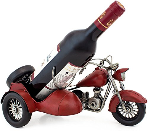 "BRUBAKER Wine Bottle Holder ""Vintage Motorcycle with Sidecar"" Hand-Painted Metal Sculptures and Figurines Decor Wine Racks and Stands Gifts Decoration"