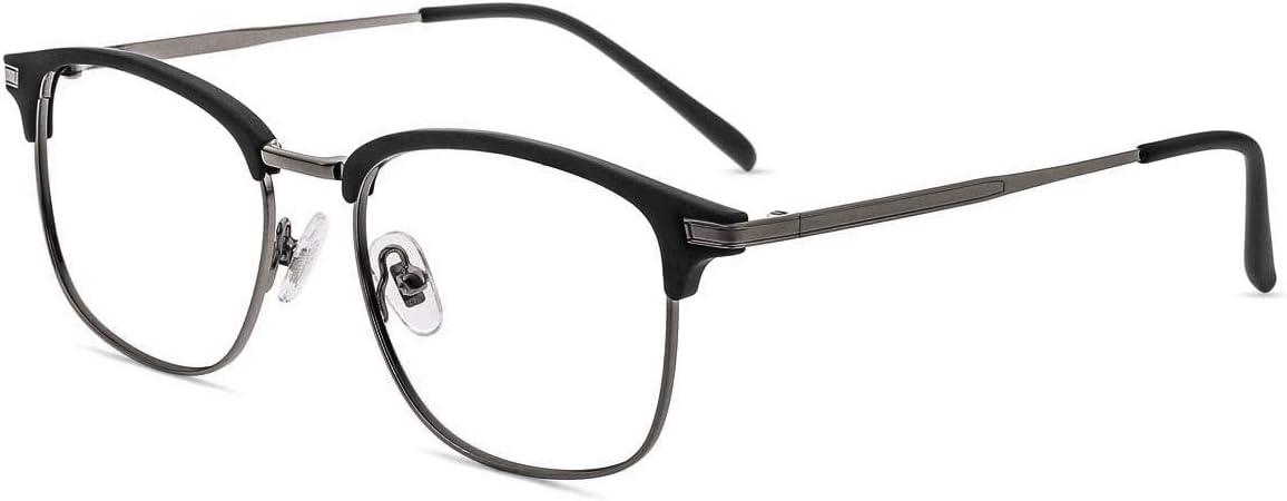 Firmoo Gafas para Ordenador Anti luz Azul,Evita la Fatiga Ojos, Gafas PC UV Luz Filtro Protección Azul Mujer Hombre para Antifatiga, S3543 Negro Gunmetal Mate