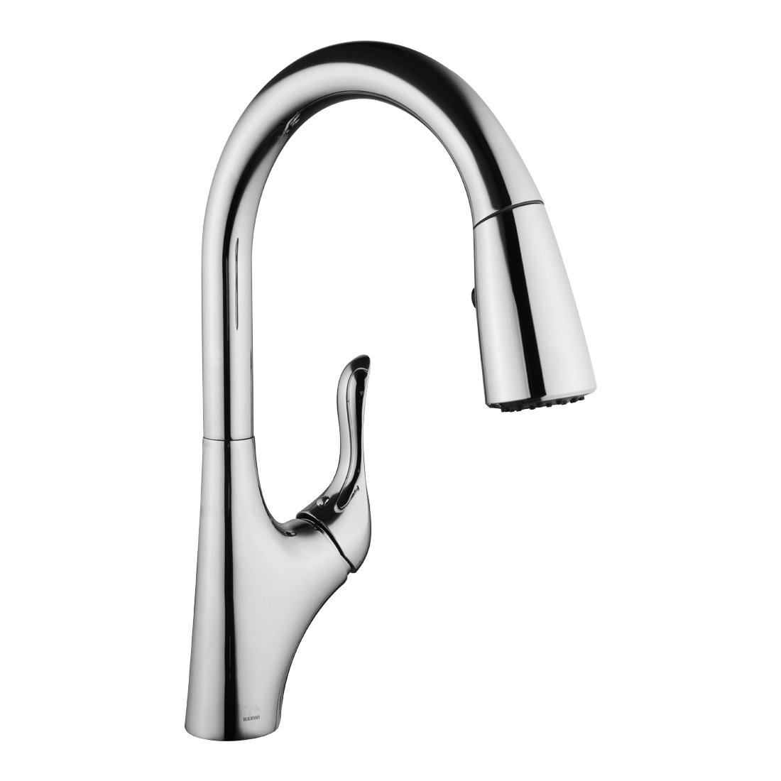 Keewi Modern Chrome Kitchen Faucet Single Handle With Pull Down Sprayer, Single  Hole Commercial Brass Kitchen Faucet With Sprayer, Lead Free, WaterSense,  ...