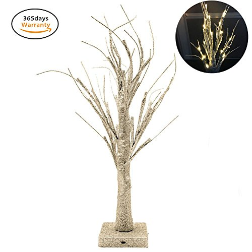 Lighted Branches Electric, Small Desk Christmas Tree Bonsai with 32 Warm White LED Lights for Home Festival Wedding Party Christmas Indoor Outdoor Decoration, Led Bonsai Tree Light, (Gold Twig Tree)