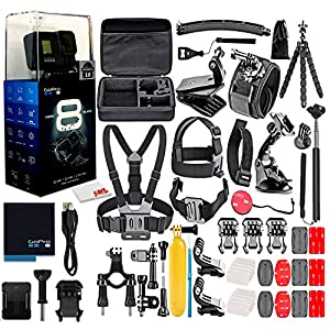 GoPro HERO8 Black Digital Action Camera – Waterproof, Touch Screen, 4K UHD Video, 12MP Photos, Live Streaming, Stabilization – with 50 Piece Accessory Kit – All You Need Bundle