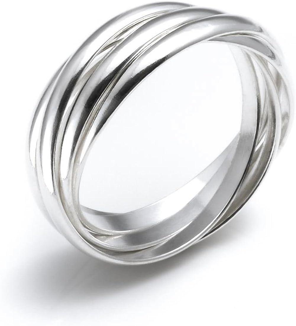 Silverly Womens .925 Sterling Silver 5 Band Interlocking Russian Wedding Ring