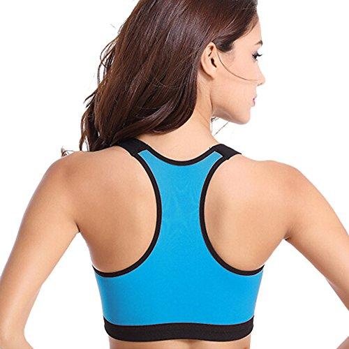 DELEY Mujeres Fitness Ejercicio Racer Danza Acción De Estiramiento Sujetador De Deporte Bra Top Chaleco Azul