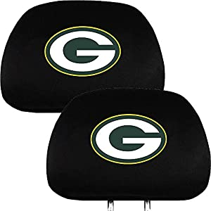 green bay packers nfl football car headrest seat cover one pair sports fan. Black Bedroom Furniture Sets. Home Design Ideas