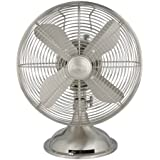 Hunter 90400 12-Inch Portable Table Fan, Brushed Nickel