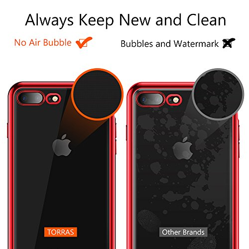 TORRAS Crystal Clear iPhone 8 Plus Case/iPhone 7 Plus Case, Soft Cover Case with Electroplated Frame Ultra Slim TPU Gel Case Compatible with iPhone 7 Plus/8 Plus, Clear Back & Red Frame by TORRAS (Image #5)