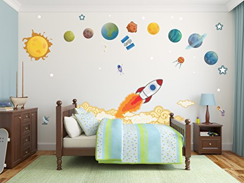 Rocket Ship with Planets Wall Decals / Solar System Decals / Space Ship Bedroom Decal / Kids Bedroom Decoration - DASHWD10001 by Go Go Dragon